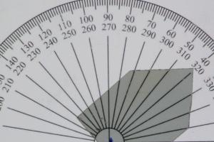 Intensität des Lichts bei ca. 40 Grad Drehung