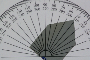 Intensität des Lichts bei ca. 50 Grad Drehung.