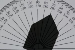 Intensität des Lichts bei ca. 70 Grad Drehung.