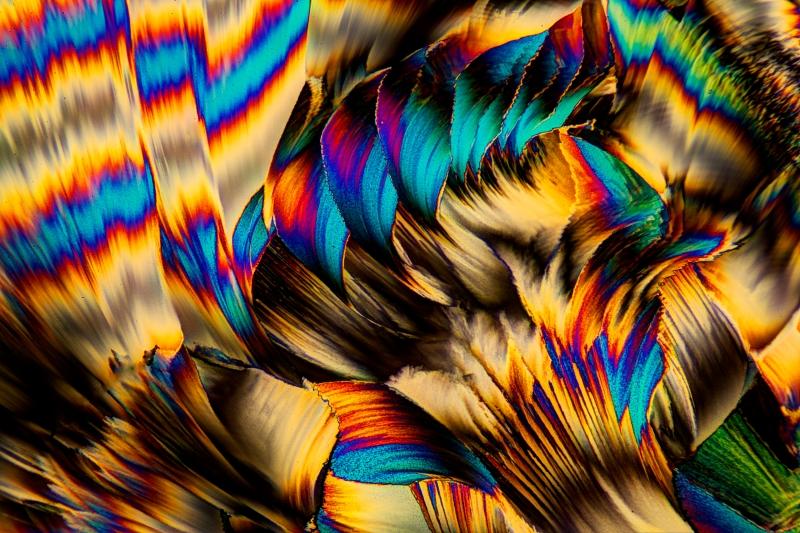 Acetylsalicylsäure-Kristalle, fotografiert im polarisierten Licht.