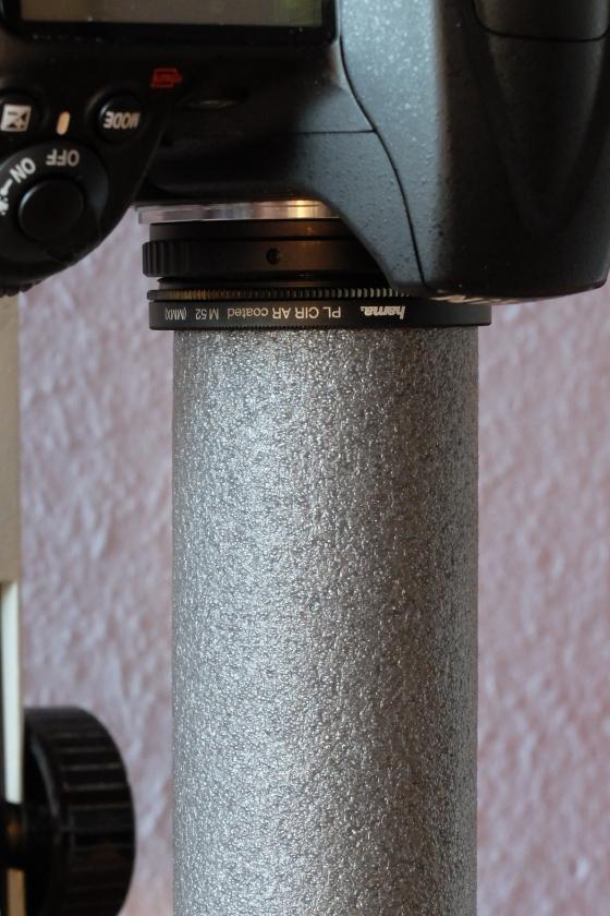 T2-Ring mit Zirkularpolarisationsfilter und Schaumstoffschlauch.